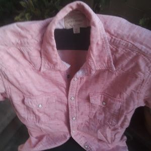 Lucky Brand Shirts - Men's Medium Linen Pink Short Sleeve Lucky Shirt